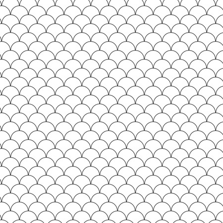 Illustration of Seamless Circle Black and White Sea Shell Geometric Vector Pattern for Backgrounds, Presentation, Wallpapers. Çizim