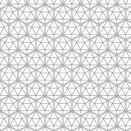 Illustration of Seamless Geometric Lines Black and White Hexagon Vector Pattern Background. You can find fully worked pattern in swatches library