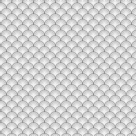 Illustratie van Seamless Circle Black and White Sea Shell geometrische Vector patroon voor achtergronden, Presentatie, achtergronden. U kunt volledig vinden gewerkt patroon in stalen bibliotheek