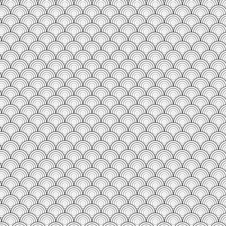 worked: Illustration of Seamless Circle Black and White Sea Shell Geometric Vector Pattern for Backgrounds, Presentation, Wallpapers. You can find fully worked pattern in swatches library Illustration