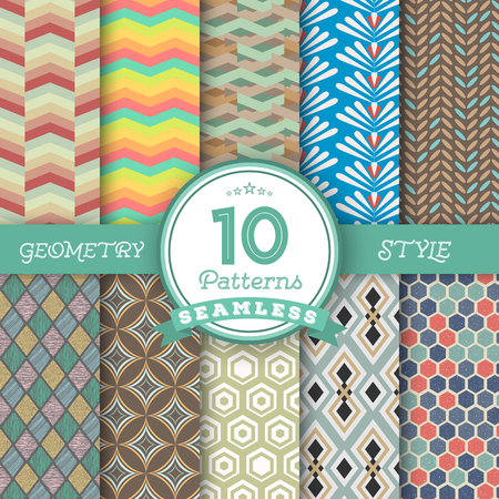 worked: Illustration of Set of 10 Vector Seamless Geometric Lines Pattern Backgrounds for Web, Presentations, Texture. You can find fully worked patterns in swatches library Illustration