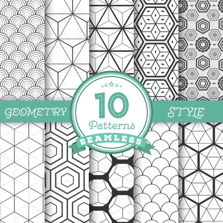 geometric: Illustration of Set of 10 Vector Seamless Geometric Lines Pattern Backgrounds for Web, Presentations, Texture. You can find fully worked patterns in swatches library Illustration