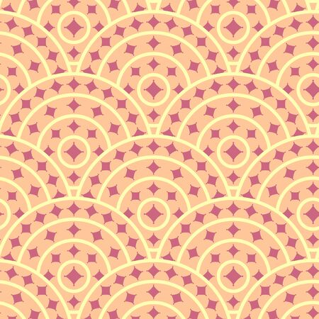 ruby: Circle With Ruby Shape Vector Seamless Pattern Illustration