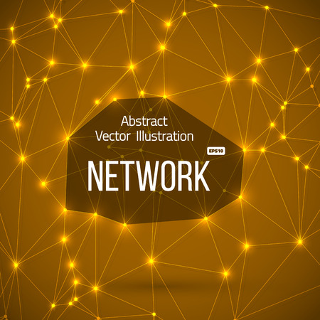 Illustration of Network Connections. Background with Lines Connected to each other and Tiny Orange Flares at Connection Points
