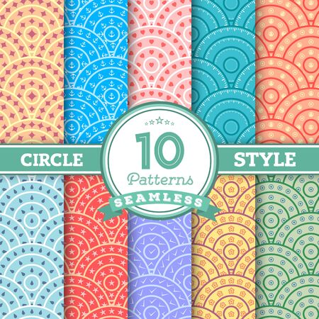 worked: Illustration of Set of 10 Different Circle Style Seamless Patterns for your Design, Presentation, Wallpaper. Include Water Drop, Heart, Anchor, Revolver, Tick etc. You can find fully worked patterns in swatches library Illustration