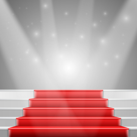 Illustration of Photorealistic Stairs with Red Carpet and Bright Luxury Event Background Vectores