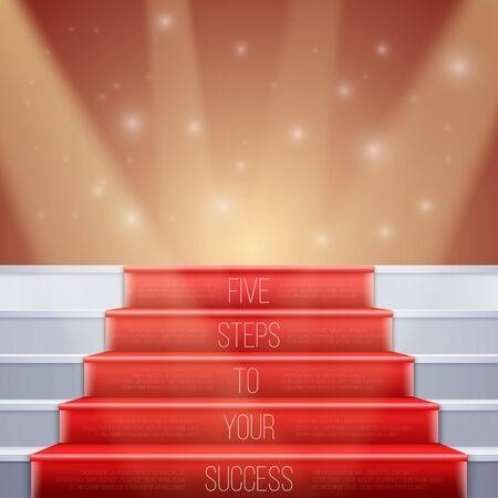 Illustratie van fotorealistische Trappen met Red Carpet en Bright Luxury Event Achtergrond. Vijf stappen naar uw succes