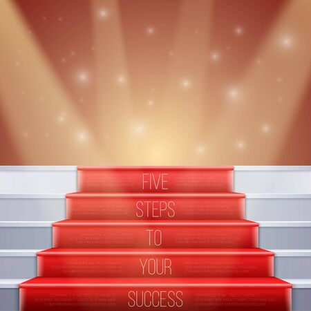 Illustration of Photorealistic Stairs with Red Carpet and Bright Luxury Event Background. Five Steps to Your Success