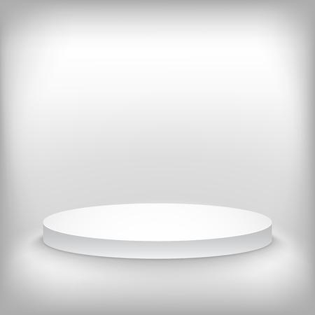 写実的な勝者の表彰台ステージ背景のイラスト。製品紹介、プレゼンテーション、コンテスト ステージに使用されます。