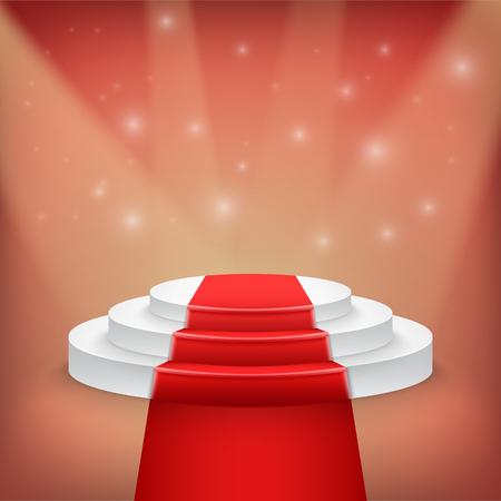 Fotorealistische Illustration der Gewinner Podium Bühne mit Bühnenbeleuchtung und Red Carpet Hintergrund. Wird für Product Placement, Präsentationen, Contest Bühne.