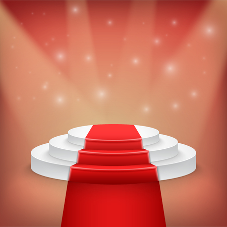show bussiness: Illustration of Photorealistic Winner Podium Stage with Stage Lights and Red Carpet Background. Used for Product Placement, Presentations, Contest Stage.