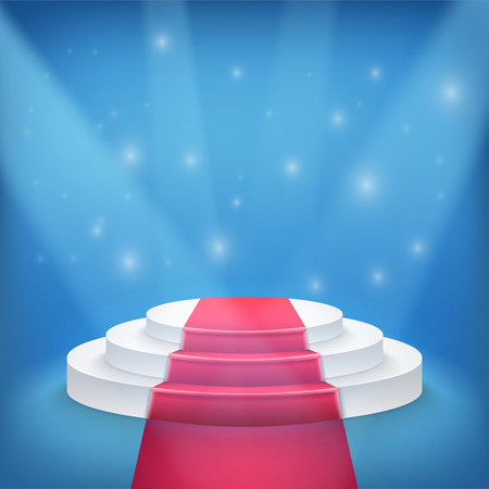 Illustration of Photorealistic Winner Podium Stage with Blue Stage Lights Background. Used for Product Placement, Presentations, Contest Stage. Stock Illustratie