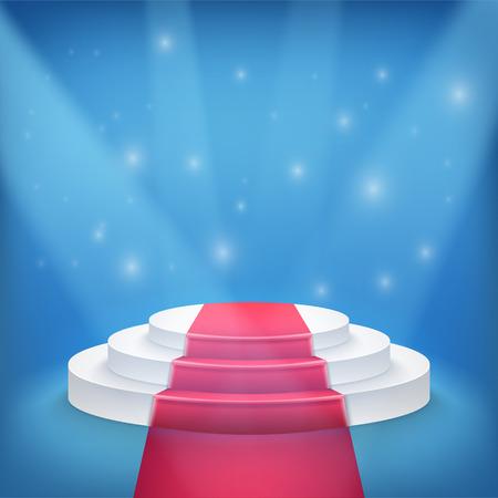 Ilustración de Ganador fotorrealista Podio etapa con Blue Luces de la etapa de fondo. Se utiliza para Product Placement, Presentaciones, Concurso escenario. Foto de archivo - 44762649