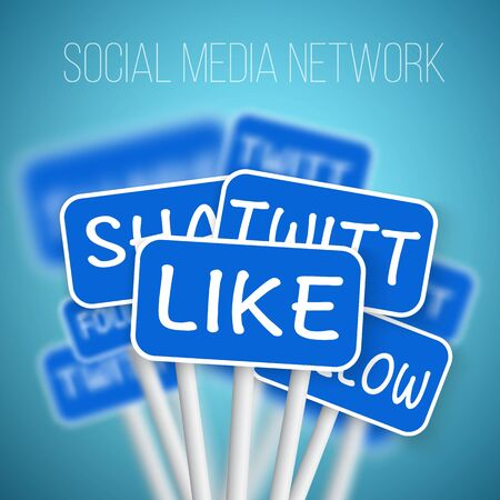twit: Illustration of Set of Social Media Network Road Signs. include Like Share, Twit, Follow. For your Social Media, Icon, Blog or Social Media Advertising.
