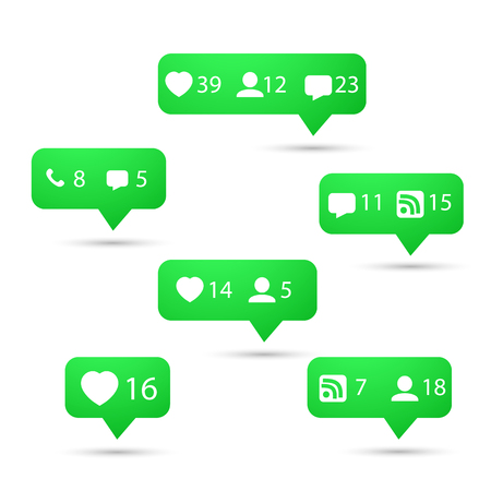 Illustration of Set of Social Media Network Icons. Include Like, Follow, Call, Message