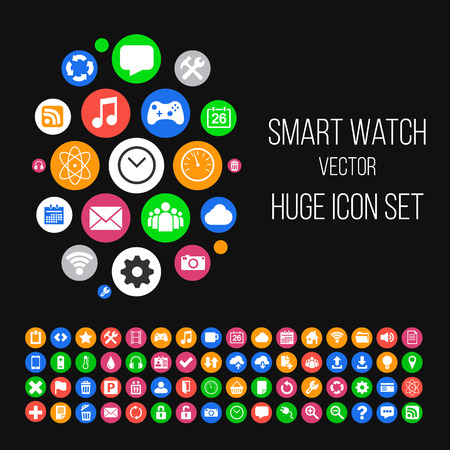 Illustration of Modern Smartwatch Style Background with Huge Set of 64 Icons in Colored Circles. Icons for your App, Presentation, Web Design