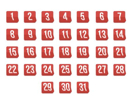 31st: Illustration of Set of Photorealistic Vector Calendar Icons from First to 31st. Every day of Month Calendar. Illustration