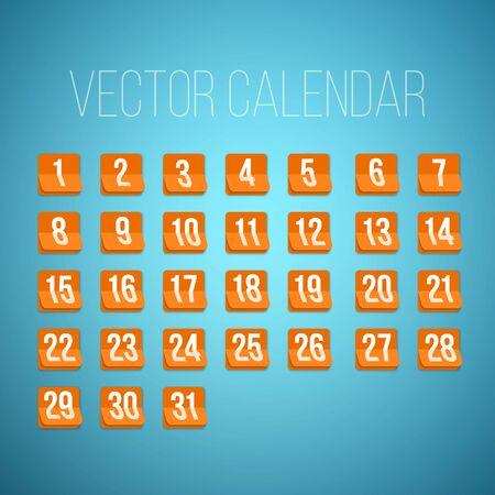 31 日まで最初から写実的なベクトルのカレンダー アイコンのセットのイラストです。月間予定表の毎日。