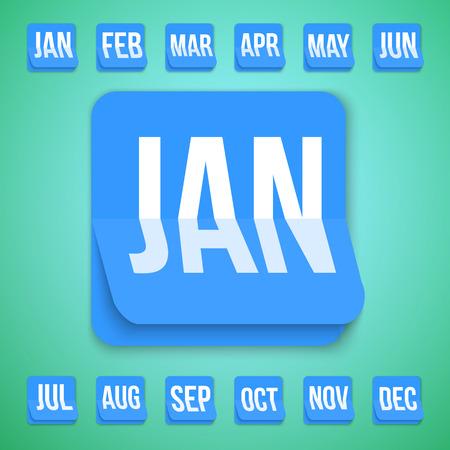 トレンディなフラット スタイルは、現実的なベクトルのカレンダー アイコンのイラスト。毎月年 2016年カレンダー アイコンのセットします。