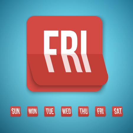 calendario octubre: Ilustraci�n de realista del vector del icono del calendario realizado en moda Flat Style. Conjunto de todos los d�as de una semana del calendario Iconos.