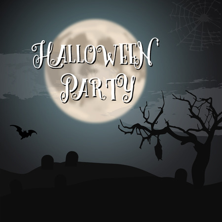 graves: Illustration of Scary Halloween Night Poster with Big Moon, Bat, Graves. Trick or Treat Halloween Party Flyer Illustration