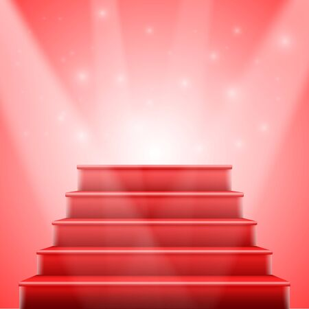 stage lights: Illustration of Red Stairs to Stage with Stage Lights