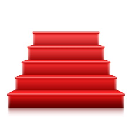 Red Stairs to Stage with Red Carpet Stock Illustratie