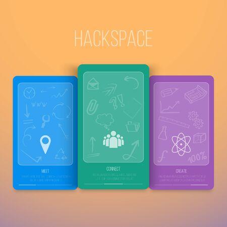 Infographics hackspace Flyer met de hand tekenen Icons Stock Illustratie