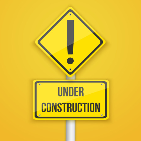 Illustration of Under Construction Road Sign.  Çizim