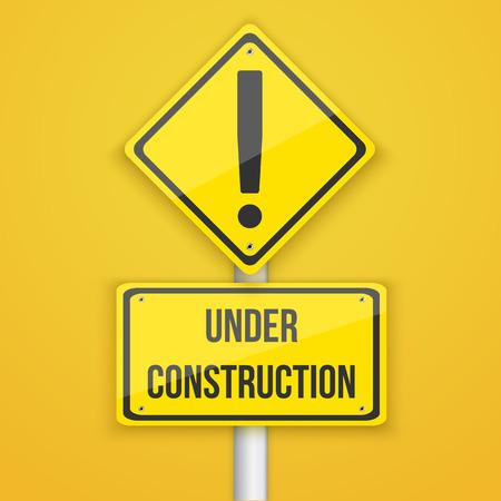 computer repair concept: Illustration of Under Construction Road Sign.  Illustration