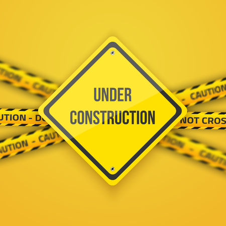 construction background: Illustration of Under Construction Background with Yellow Police Lice