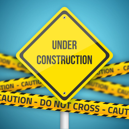 Illustration of  Under Construction Sign with Do Not Cross Caution Police Line Illustration