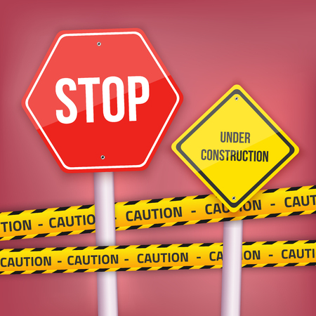 danger do not cross: Illustration of Stop Sign and Under Construction Template with Yellow Caution Police Line Illustration