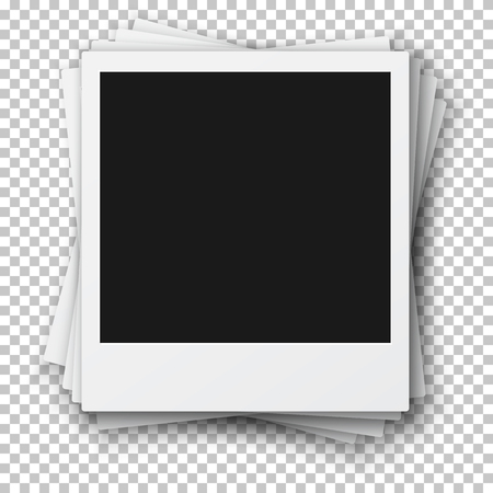 Illustration of Stack of Retro Photo Frames made in Realistic Style. 일러스트