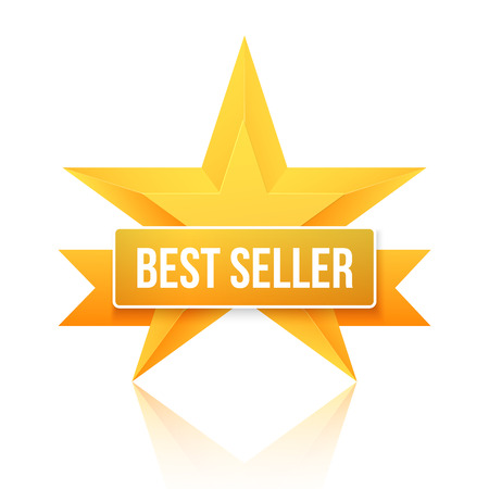 Illustration of Best Seller Gold Star Background. Five Stars Top Rating Icon. Photo realistic Gold Stars Template