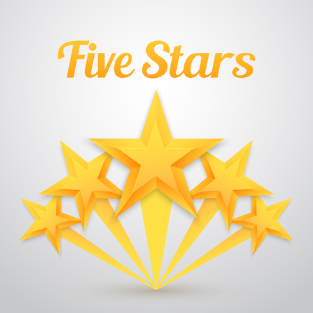 Illustration of Set of Gold Stars Icon. Five Stars Icon Template. Best Rating Gold Star Icon
