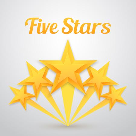 Illustration of Set of Gold Stars Icon. Five Stars Icon Template. Best Rating Gold Star Icon