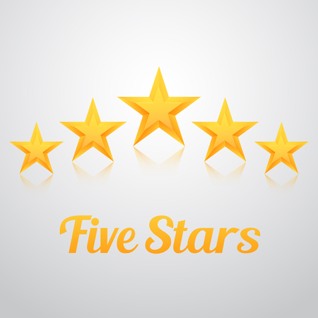 five stars: Illustration of Set of Gold Stars Icon. Five Stars Icon Template. Best Rating Gold Star Icon