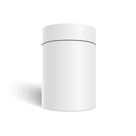 Illustration of White 3D Cylinder Isolated on White Background. Tea and Coffee Can Template for your Store
