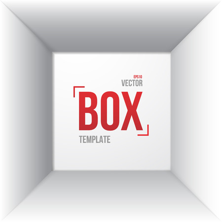 Illustration of Photorealistic White Open Box Template Top View Mockup