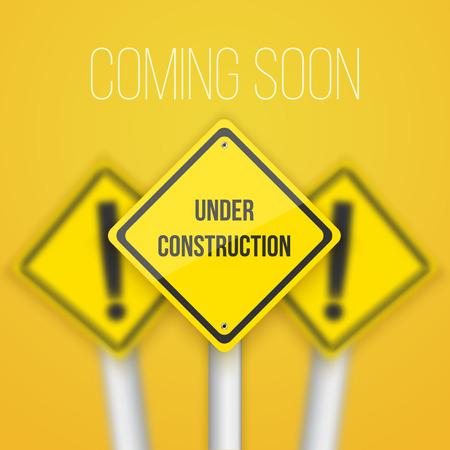 bordure de page: Signe de route avec le texte Under Construction Template Illustration