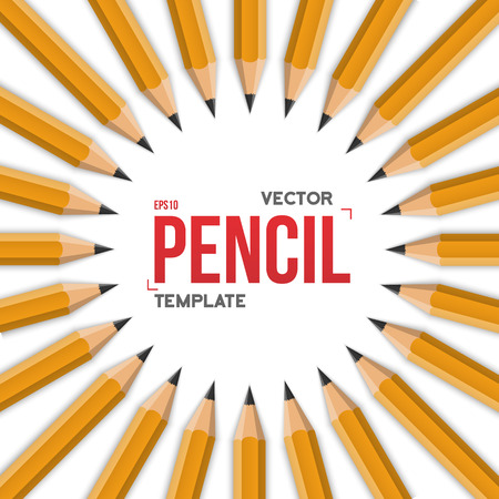 graphite: Illustration of Realistic Yellow Graphite Office Pencil Circle Isolated on White Background Template