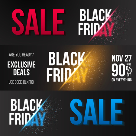 black and red: Illustration of Black Friday Sale Explosion Banner Template.