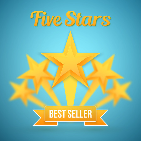 five stars: Illustration of Set of Gold Stars Icon. Five Stars Icon Template. Best Seller Gold Star Icon Illustration