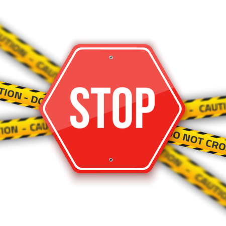 do not cross: Illustration of Stop Road Sign Isolated on a White Background with Do not Cross Police Lines