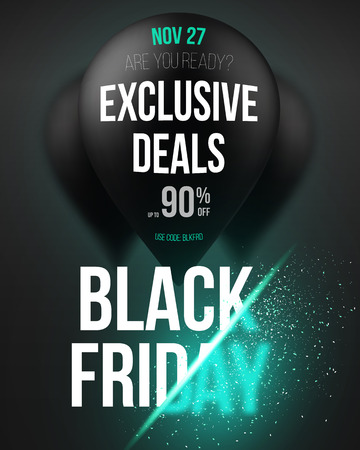 Illustration of Black Friday Sale Air Balloon Poster Template with Explosion Effect