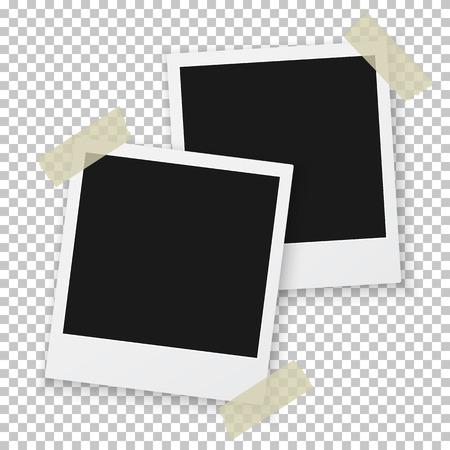 marcos cuadros: Ilustración del marco de la foto de la vendimia Sticked en la cinta aislante a fondo Vectores