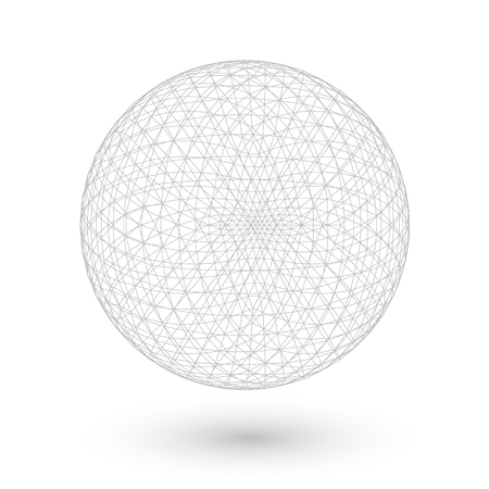 wired: Illustration of Connection Spirograph Wired Ball Isolated on White Background Illustration