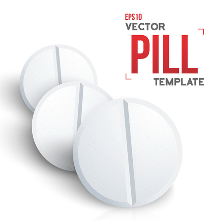 aspirin: Illustration of realistic Medicine Pill Isolated on White Background Illustration