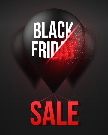 Illustration of Black Friday Sale Air Balloon Poster Template with Explosion Effect.